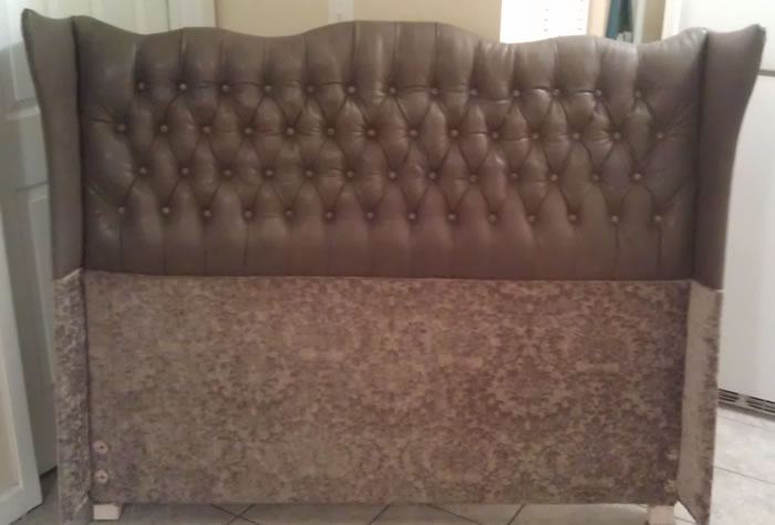 Leather Headboard Reupholstered